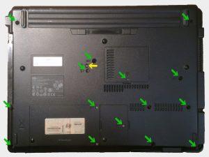 Reinigung eines Compaq 6720s. Erster Schritt.